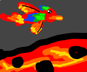 Parrot crossing over Lava