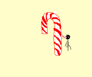 Tongue stuck to a candy cane