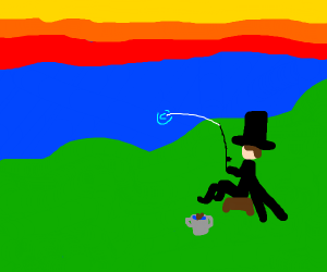 Person with tophat fishing in lake