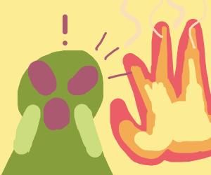 Alien lady sees fire