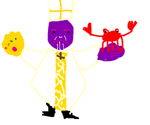 Thanos pope holding a crab