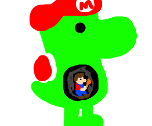 yoshi ate mario and is keeping his hat
