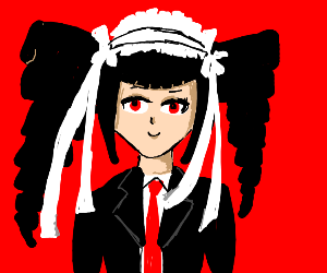 Danganronpa character with Black pig tails