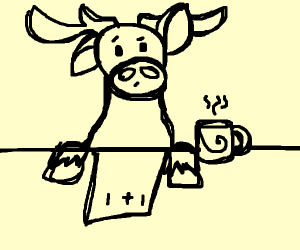 moose@ desk w/ coffee looking@ math tutorial