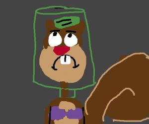 Sandy Cheeks with pickle jar on her head
