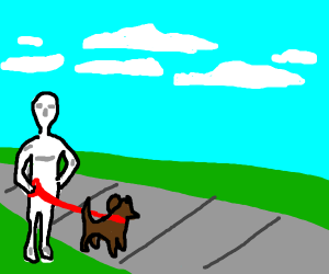 A mannequin walks his dog