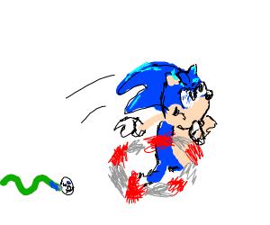 Sonic runs away from snake sans