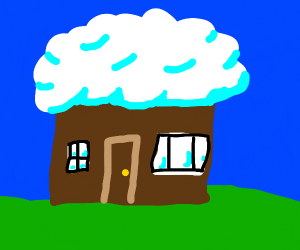 house with cloud for roof