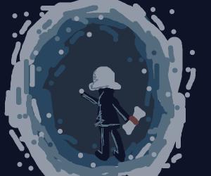 George Washington walks thru time portal