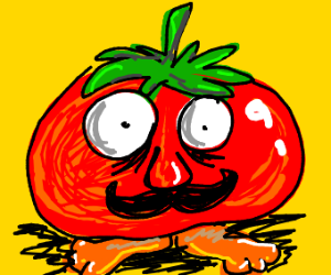 A tomato with a nose eyes moustache and feet