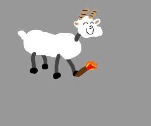 Goat with a torch