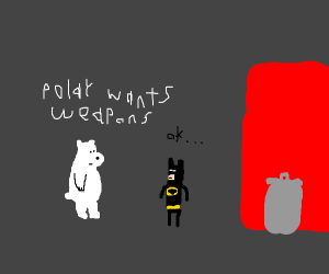 Bat man talking to a polar bear