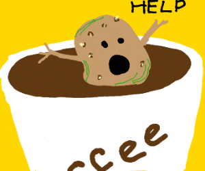 Potato Man drowns in coffee