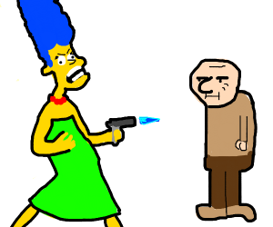 Marge Simpson blow torching old man