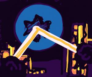 a blue bear destroys a city