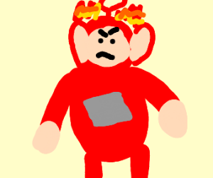 Angry Teletubbie with head on fire.