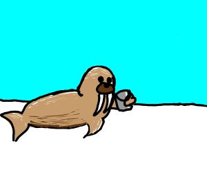 A walrus holding a bucket