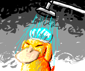 Psyduck showering