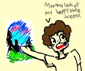 Kid impersonating Bob Ross