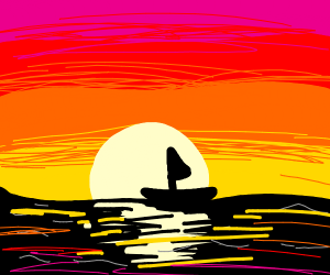 Boat in the ocean during sunset