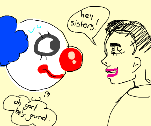 Two clowns looking at each other