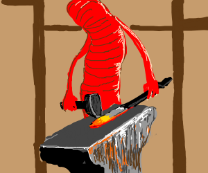 Worm forging a sword on an anvil