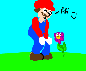 mario says hi to a flower