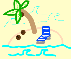 little island with coconut tree and recliner