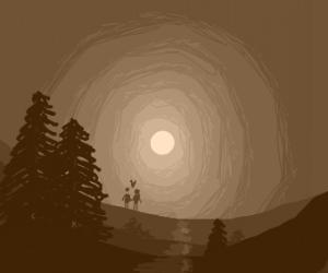 Couple Walks in the Moonlight