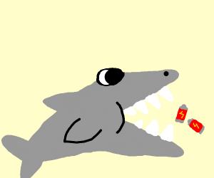 shark eating batteries