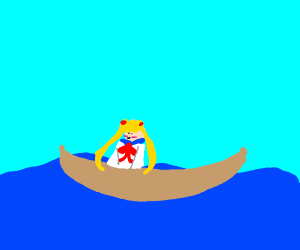 Sailor moon on a boat