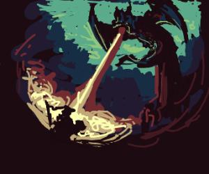 Epic knight vs dragon scene