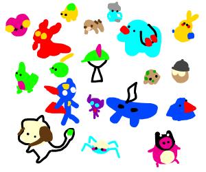 A lot of diferent pokemon