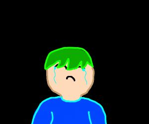 sad guy with green hair