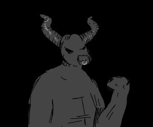 Black minotaur, blacker background