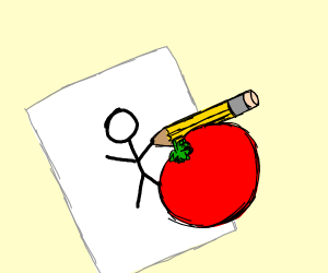 A tomato drawing a stick figure