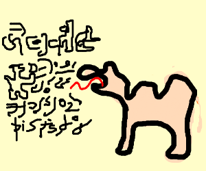 Camel speaking an unknown language