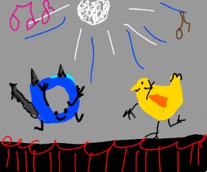 Cat and duck drawception disco