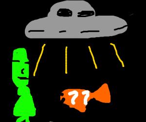 Aliens abducting a clown fish