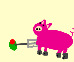 olive stabs pig with pitch fork