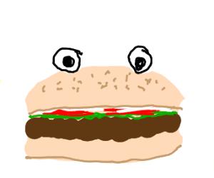 Hamburger with eyes