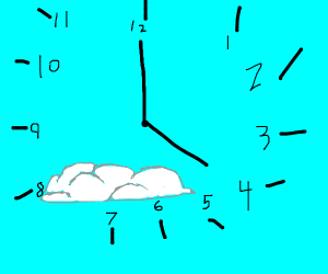 A clock with a cloud in the middle.