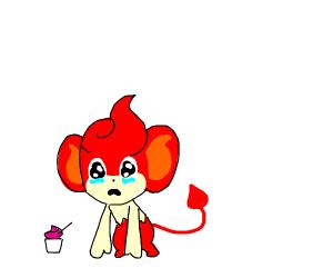 Pansear cries while eating yogurt