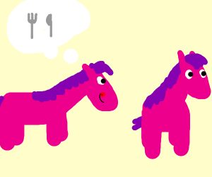 A pink horse wants to eat another pink horse