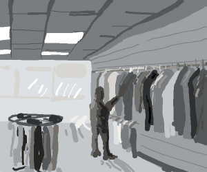 man in a clothes shop