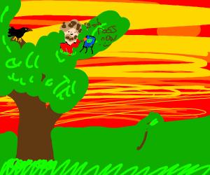 black bird in a tree with jazza