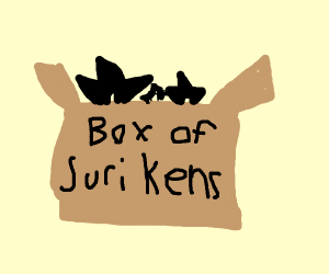 A box containing shurikens