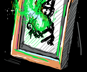 Green sentiennt flame on a framed pic