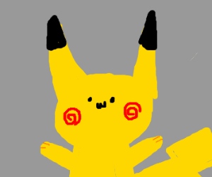 Pikachu with spiral cheeks and a small face