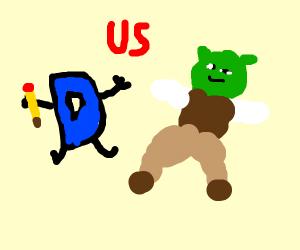 Drawception D battles the Great Shrekening